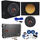 Rockville W10T4-S4 10' Shallow 1200 Watts Subwoofer+Sealed Box+2 Ch.Amplifier+Amp Kit