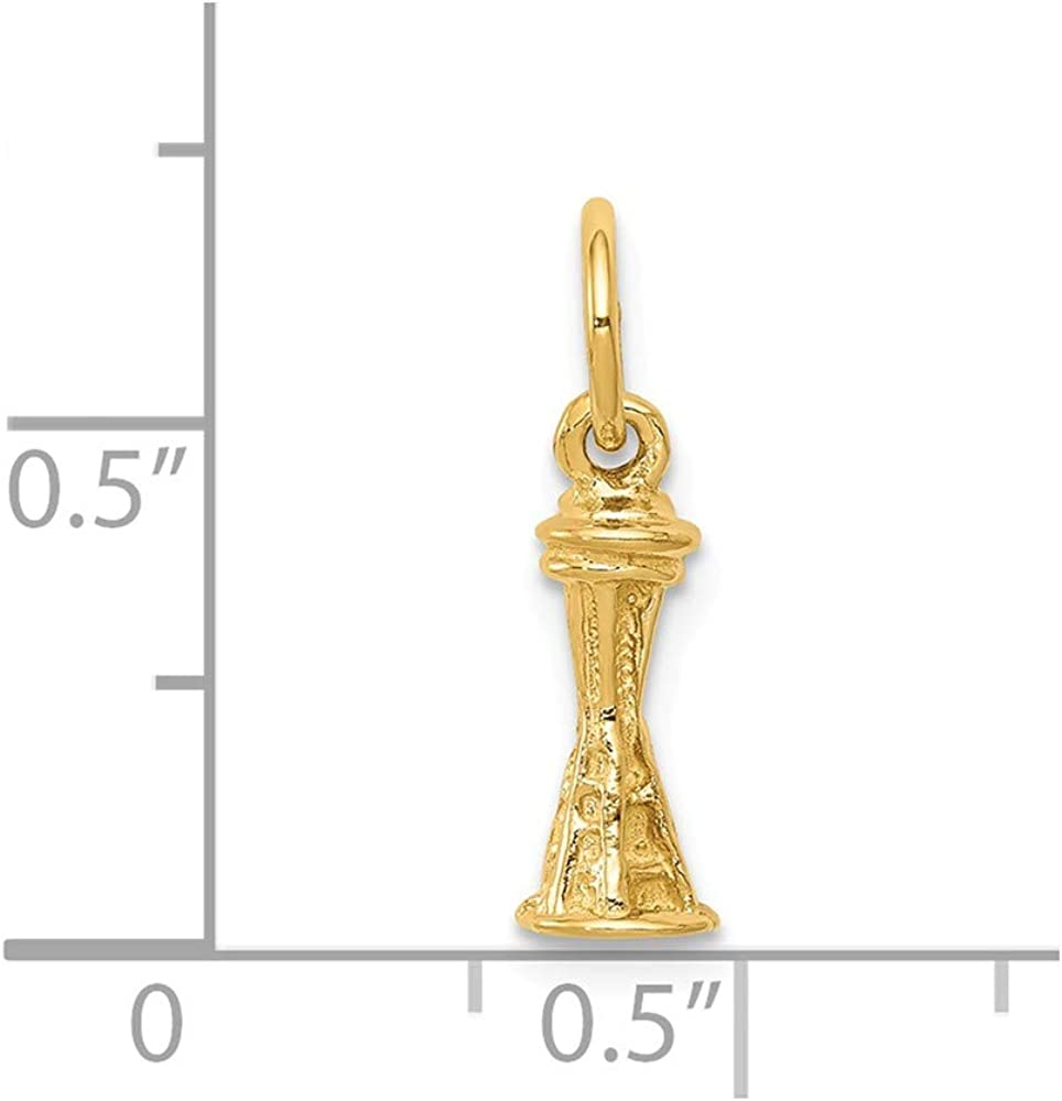 14K Solid Polished 3-D Seattle Space Needle Charm