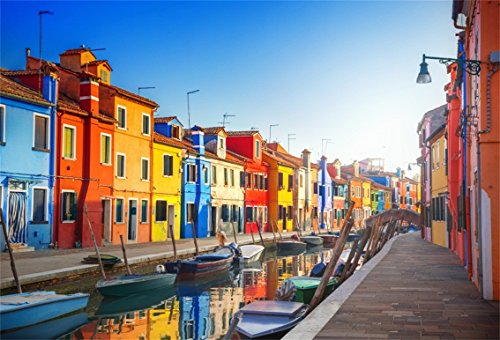 (CSFOTO 5x3ft Background for Colorful Houses Venice City Photography Backdrop Italy Famous Water City Attactive City Landscape Holiday Vacation Tour Travel Photo Studio Props Vinyl)