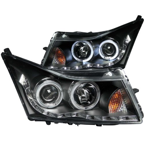 Halo Black Clear Projector Headlights - Anzo USA 121400 Black Halo Projector Headlight with Clear Lens for Chevy Cruze