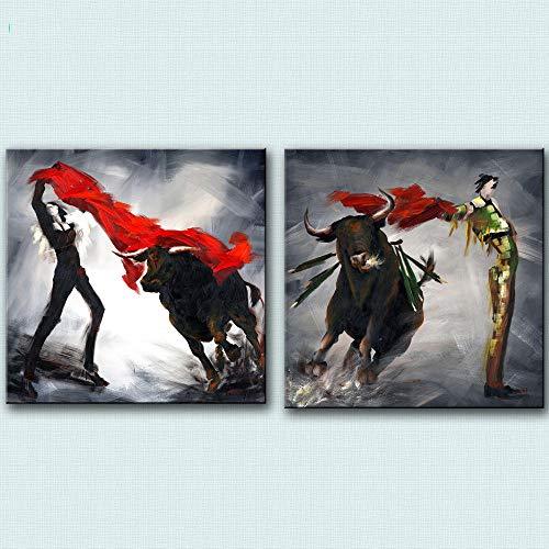 SDPYY Cuadro Abstracto Arte Moderno de la Pared Pintura de la Lona Impresion Espana Cartel taurino Decoracion de la Sala de estar-60x60cmx2 Piezas sin Marco