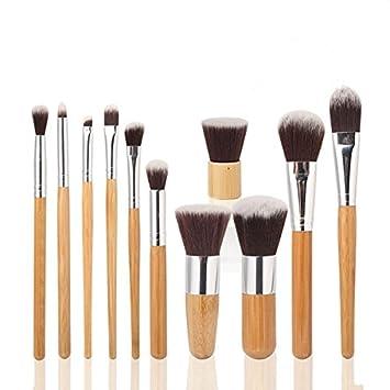 Sorliva - Juego de 14 brochas de maquillaje con mango de bambú para maquillaje, sombra de ojos, colorete, corrector: Amazon.es: Hogar