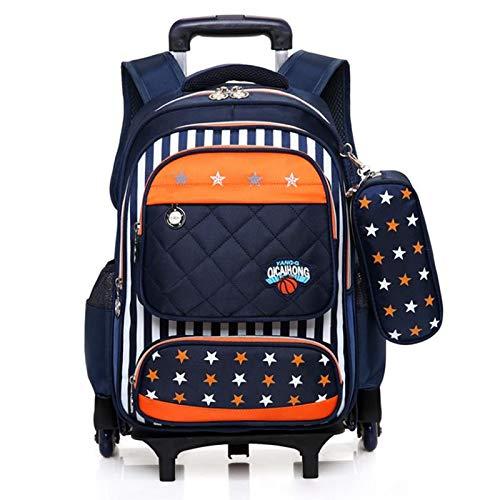 Ly-lgb 学生バッグ 子供用スクールバッグ 6ラウンドのトロリーバッグ 1-3-6グレード 小学生用バックパック B07PNR4RHM