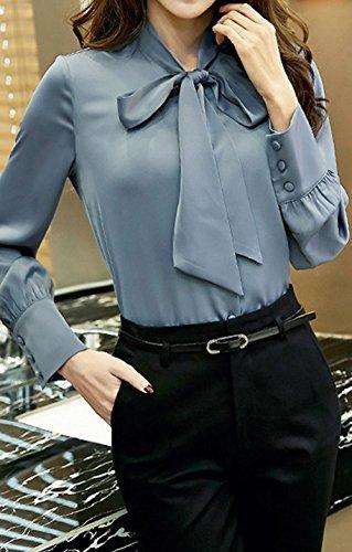 Blouses Chemises Longues Gris Unie Manches de Haut Printemps Tops et Casual Couleur N ud avec Bureau Shirt Papillon Chemisiers Automne Fashion Femme Mousseline Blouse wS4qHT