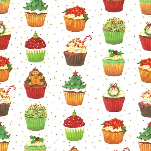 Entertaining with Caspari Continuous Gift Wrapping Paper, Christmas Cupcakes, (Cupcake Wrapping Paper)