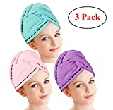 Hair Drying Towels, Fast Drying Hair Cap, Long Hair Wrap,Super Absorbent Twist Turban,Microfiber Bath Shower Hair Towel Twist with Buttons (Blue+Pink+Purple-3 Pack)