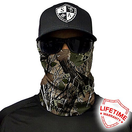 SA Company Face Shield Micro Fiber Protect from wind, dirt and bugs. Worn as a Balaclava, Neck Gaiter & Head band for Hunting, Fishing, Boating, Cycling, Paintball and Salt lovers. - Forest Camo Dregs