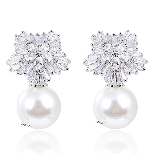 LILY TREACY 14mm Pearl Dangle Drop Earrings w/CZ Cubic Zirconia white simulated pearl diamond FLOWERAL w/LED light box bridal (White Gold)