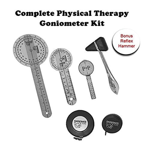 Goniometer Complete Set W/ Bonus Reflex Hammer Including 12 ,8 ,6 Inches Goni's Plus TWO Bonus Measuring Tapes. Phyisical Therapy and Occupational Therapy Tools. Ideal For Clinical or Home (Here Is How To Do Therapy)