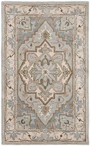 Safavieh Heritage Collection HG866A Handcrafted Traditional Oriental Beige and Grey Premium Wool Area Rug 9' x 12'
