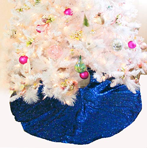 (Pink_Marmiral Blue Christmas Tree Skirt - Fully Lined - Hanukkah Tree Skirt, Holiday, Xmas Tree Skirts, Royal Blue - Made in USA (48