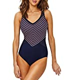 Miraclesuit Lucky Stripe Seafarer One-Piece, 16, Midnight Stripe