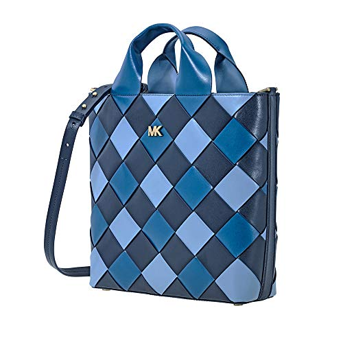 (Michael Kors Mott Woven Leather Market Tote (Admiral/Powder Blue))