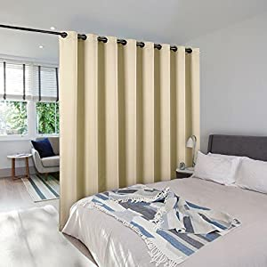 Room Divider Curtain Screen Partitions - NICETOWN Wide Width Grommet Top Best Room Dividers Ideas For Office, Loft, Dorm, Hotel (1 Pack, 8ft Tall x 15ft Wide,Warm Beige)
