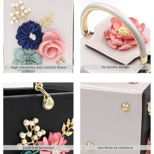 Clutch Bag Milisente Black Box Beige Flower Evening Purse Women Handbag Clutches rqIOtpI