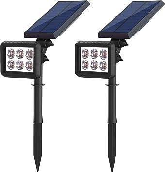 Foco Solar Exterior Luz Solar Jardín Pared Lámparas Ultra Brillante con Funciona de 8 Horas & 2 Modos de Iluminación, Lámparas Solares Ajustable Impermeable IP64 para Jardín Patio Calzada Cesped: Amazon.es: Electrónica