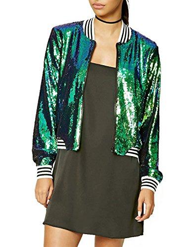[HaoDuoYi Womens Casual Sparke Sequins Lightweight Bomber Jacket with Zipper(L,Green)] (Lightweight Flight Jacket)