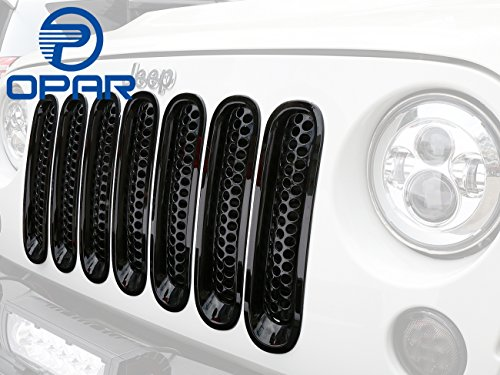 [Upgrade Clip in Version] Opar Gloss Black Front Mesh Grille Insert for 2007-2015 Jeep Wrangler JK & Wrangler Unlimited (Pack of 7)