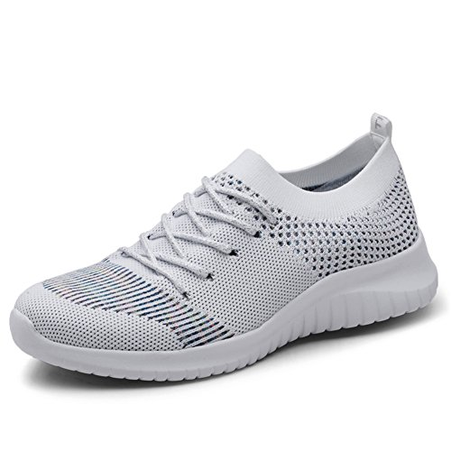 KONHILL Women's Breathable Sneakers Casual Knit Tennis Athletic Walking Running Shoes, L.Gray, 38