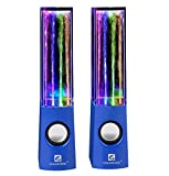SoundSOUL Water Dancing Speakers Light Show Water Fountain Speakers LED Speakers (3.5mm Audio Plug, 4 Colored LED Lights, Portable Speakers) - Blue