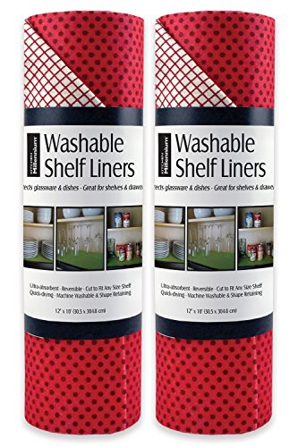 - DII Non Adhesive Cut to Fit Machine Washable Shelf Liner Paper For Cabinets, Kitchen Shelves, Drawers,  Set of 2, 12 x 10