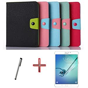 "Junsi Wallet Leather Case Cover +Film+Pen For 9.7"" Samsung Galaxy Tab S2 T810 T815 Color Block"