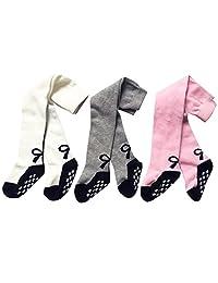 XPX Fashion 3 Pack Baby Girls Cotton Tights Anti Slip Toddler Legging Pants Stockings