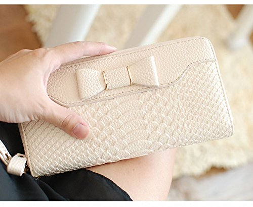 SELECTIA Women's Wallet PU Leather Mother's Day Gift Present Gift Beautiful Adorable Gorgeous Gift Large Capaciity Long Purse Credit Cash Holder Clutch Handbag with Strap Iconic Bow 29 (White) by SELECTIA (Image #1)