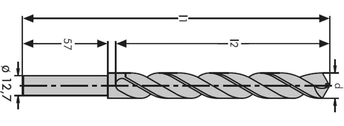 HSS-geschliffen Toleranz h8: /Ø 10,50 mm // S10 rechtsschneidend Industrie Spiralbohrer mit abgesetztem Zylinderschaft f/ür 13-er Bohrfutter~ DIN 338 Typ N