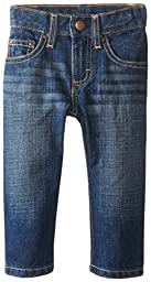 Wrangler Unisex Baby Five Pocket Styling W Stitching with Patch Denim Jean, Denim, 12 Months