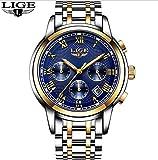 LIGE Reloj para Hombre, Reloj Deportivo, cronógrafo de 6 Puntos Reloj Impermeable para Negocios,goldblue