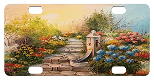 Opium Mini (Flower Mini License Plate by Lunarable, Opium Poppy Field and Beautiful Yard Sunset Over The Ocean Under The Clouds Picture, High Gloss Aluminum Novelty Plate, 2.94 L x 5.88 W Inches, Multicolor)