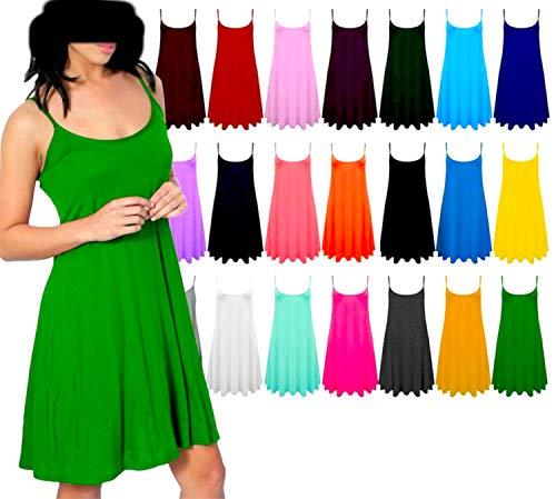 ZJ Clothes Womens Plain Sleeveless Cami Strappy Swing Dress