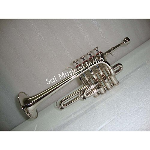 Queen Brass Top Grade Silver Nickel Piccolo Trumpet Bb Pitch Along With Mouthpiece MI 082 by Queen Brass