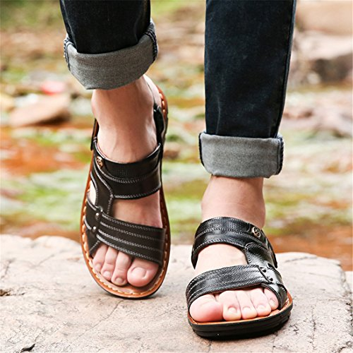 Mens Outdoor Fisherman Leather Beach Athletics Walking Hiking Sandals Q200 Bright Brown zqRR6LG