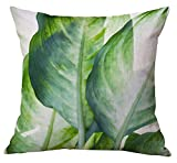 Modern Simple Plants Series Cotton & Linen Burlap Square Throw Pillow Covers, 18 x 18 Inches, Set of 4 (Banana Leaf & Cacti)