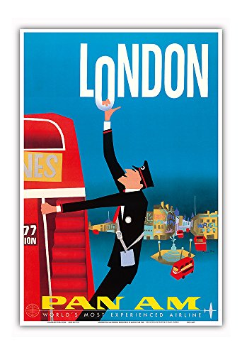 London - Double Decker Buses, Bovril and Schweppe - Pan American World Airways - Vintage Airline Travel Poster by Aaron Fine c.1950s - Master Art Print - 13in x 19in (American Retro London)
