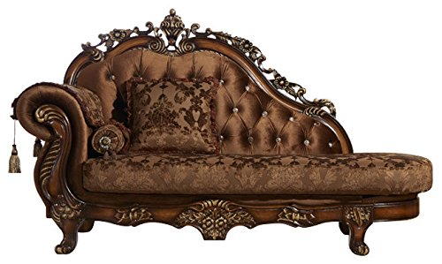 Hand Carved Chaise (Meridian Furniture 692-CH Napoli Solid Wood Upholstered Chaise Lounge with Traditional Hand Carved Designs, Crystal Button Tufting, and Imported Fabrics, Cherry Finish)