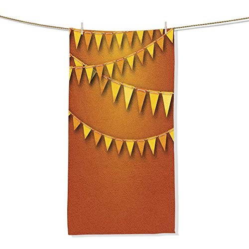 FootMarkhome Custom Patterned Towel, Autumnal Decoration with Orange and Yellow Bunting Pennants Velour Beach Towel-Size:11.8