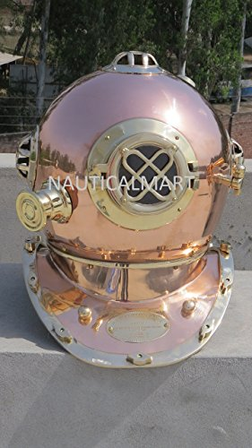 Nautical Solid Shiny Brass & Copper Divers Diving Helmet ...