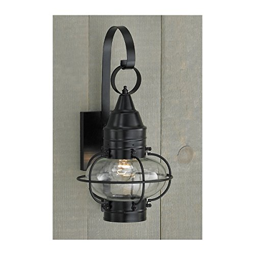 - Norwell Lighting 1513 Small Outdoor One Light Classic Onion Wall Mount (Black w/Clear Glass)