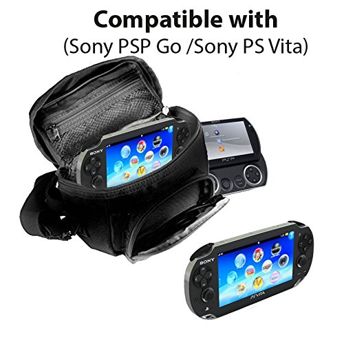 Orzly® - GAME & CONSOLE TRAVEL BAG for Sony PSP Consoles (GO/VITA/1000/2000/3000) Has Special Compartments for Games & Accessories. Bag includes Shoulder Strap + Carry Handle + Belt Loop - BLACK