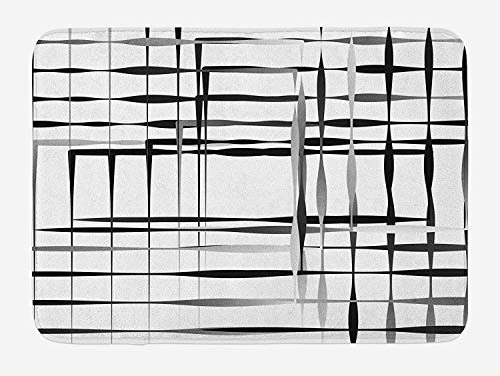 A-line Floor Asymmetric - Modern Art Bath Mat, Minimalist Image with Simplistic Spaces and Spare Asymmetric Grids and Lines, Plush Bathroom Decor Mat with Non Slip Backing, 23.6 W X 15.7 W Inches, Black White