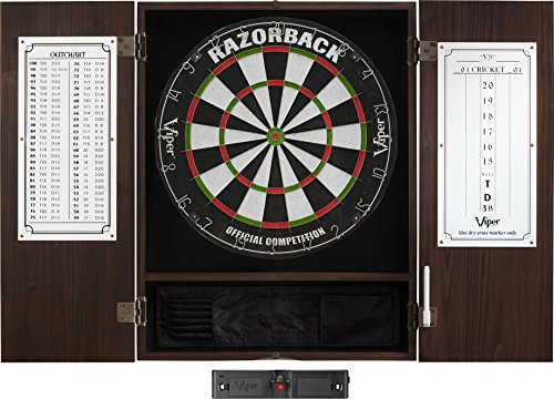Viper Metropolitan Solid Wood Cabinet & Sisal/Bristle Dartboard Ready-to-Play Bundle: Elite Set (Razorback Dartboard, Darts and Laser Throw Line), Espresso Finish ()