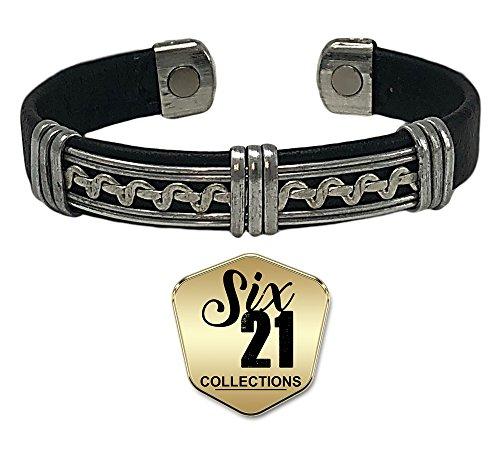 Handmade Black Leather Magnetic Bracelet for Arthritis Relief - Silver-Plated, 2 Magnets, Adjustable Bangle - For Men and Women (VIPER)