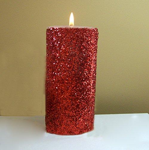 Glitter Pillar - Red Glitter Pillar Candle - Choose 4, 6, 9 Inches Tall