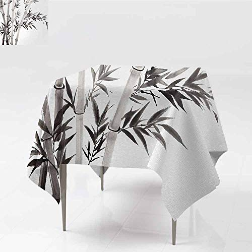 DILITECK Easy Care Tablecloth Bamboo Traditional Bamboo Leaves Meaning Wisdom Growth Renewal Unleash Your Power Artprint Party W36 xL36 Grey White ()