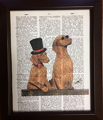 Sunglasses and Top Hat Dogs Dictionary Book Page Artwork Print Picture Poster Home Office Bedroom Wall Decor - - Sunglasses Canadian