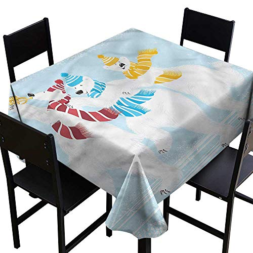 Anshesix Dustproof Square Tablecloth Bear Xmas at North Pole Funny Table Decoration W60 xL60 Indoor Outdoor Camping Picnic ()