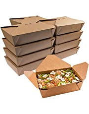 30 Pack Take Out Boxes - 49 OZ Take Out Containers,Microwaveable Folding Natural Kraft Food Box Meal Prep Containers for Food Take Out Boxes Ideal Leak and Grease Resistant for Restaurants